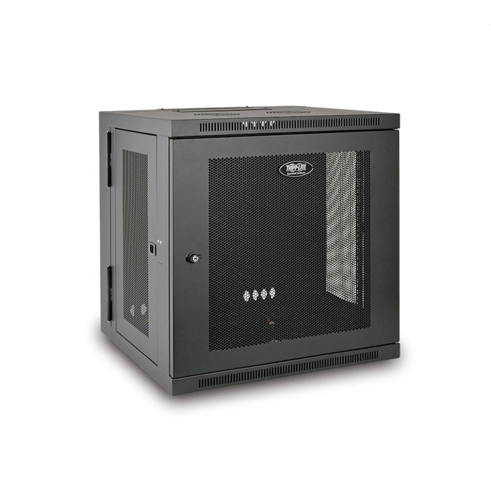 SmartRack 12U Low-Profile Switch-Depth Wall-Mount Rack Enclosure Cabinet, Hinged Back